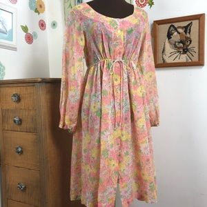 Vintage Sheer Floral Dress Pink & Yellow Lingerie